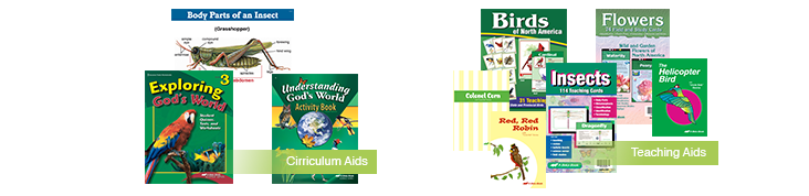 Visual aids, teacher editions, and curriculum plans