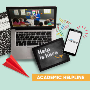 A laptop with a video course playing, and a tablet pointing to a phone where help is available for Abeka Academy.