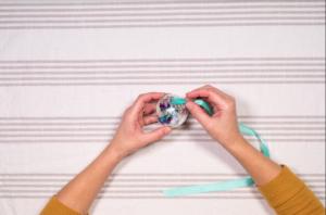 Thread ribbon through the opening