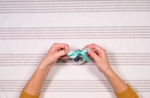 Tie ribbon into a bow