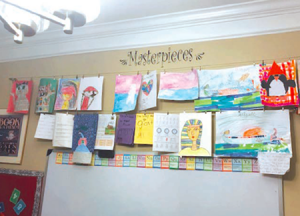 children's artwork wall