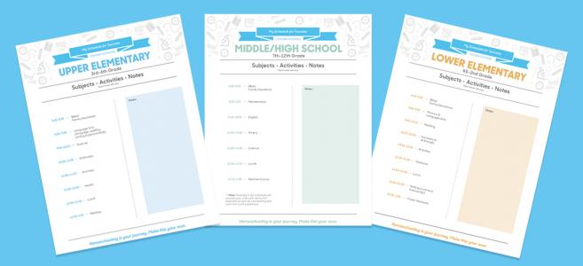 Sample homeschooling schedules